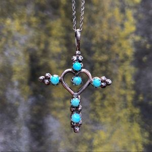 Vintage Red Coral / Turquoise Cross Necklace